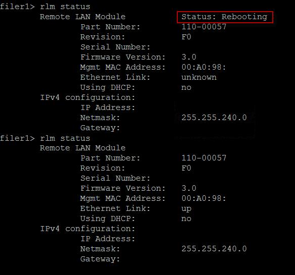 screenshot - rlm status after rebooting rlm module